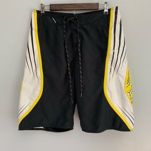 FOX | Black and Yellow Board Shorts Swimsuit